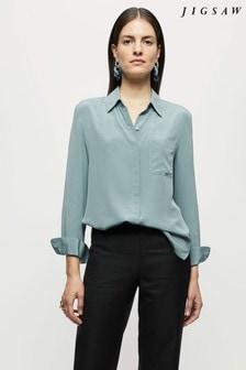 Jigsaw Blue Silk Long-Sleeve Shirt