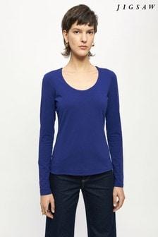 Jigsaw Blue Double Front Scoop T-Shirt