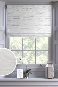 White Marble Chenille Made to Measure Roman Blind