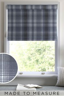 Navy Cosy Check Made to Measure Roman Blind