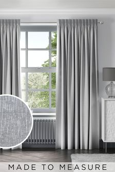 Silver Chenille Silver Made To Measure Curtains