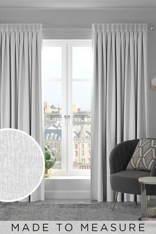 White Chenille White Made To Measure Curtains