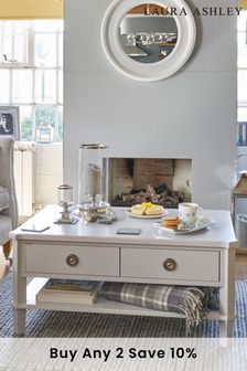 Henshaw Pale Steel 2 Drawer Coffee Table By Laura Ashley