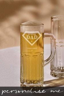 Personalised Super Dad Beer Glass
