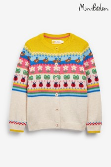 Boden Natural Colourful Fairisle Pattern Cardigan