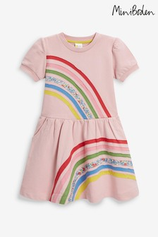 Boden Pink Rainbow Sweatshirt Dress