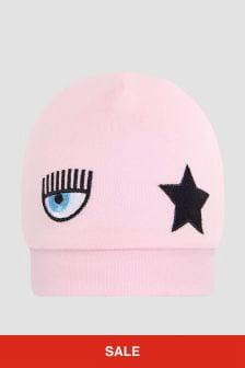 Chiara Ferragni Baby Girls Pink Hat