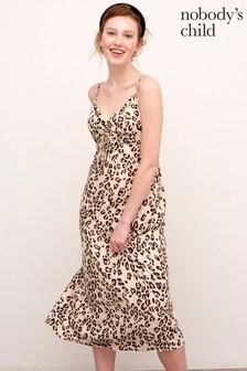 Nobody's Child Camel Leopard Print Midi Dress