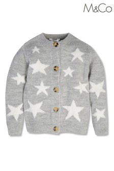 M&Co Grey Knitted Star Cardigan
