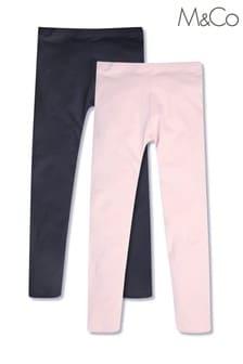 M&Co Navy/Pink Leggings 2 Pack
