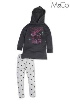 M&Co Black Unicorn Hooded Sweat Dress And Leggings Set