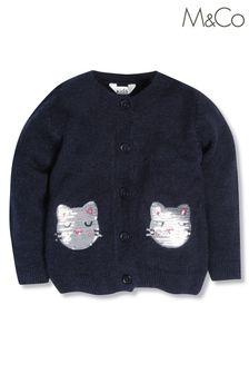 M&Co Blue Sequin Cat Cardigan