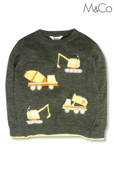 M&Co Younger Boys Green Truck Jumper