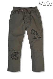 M&Co Green Dinosaur Embroidered Trousers