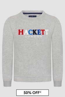 Hackett London Kids Boys Grey Sweat Top