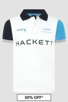 Hackett London Kids Boys White Polo Shirt