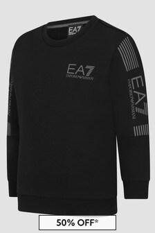 EA7 Emporio Armani Boys Black Sweat Top