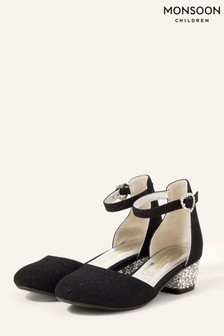 Monsoon Black Shimmer Two-Part Heeled Shoes