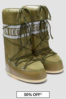 Moonboots Kids Khaki Snow Boots