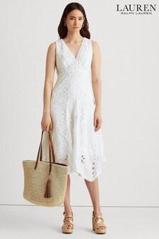 Lauren Ralph Lauren White Cotton Venasia Dress
