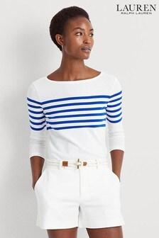 Lauren Ralph Lauren White Blue Stripe Halian Top