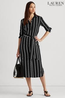Lauren Ralph Lauren Black/White Stripe Rynetta Dress