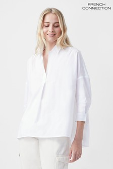 French Connection Rhodes White Poplin Side Split Shirt