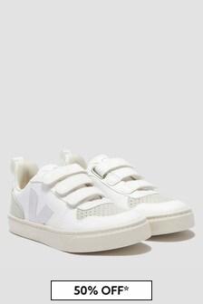 Veja Kids White V-10 Velcro Trainers