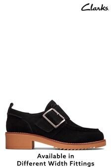 Clarks Womens Black Eden Mid Monk Shoes