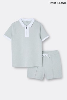 River Island Green Textured Polo And Short Set