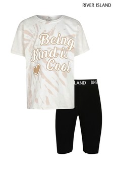 River Island White Kind Is Cool Tie Dye Set