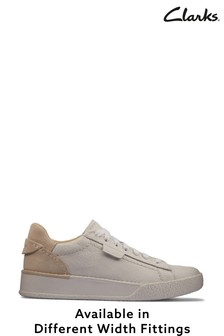 Clarks White Leather Craft Cup Lace Shoes