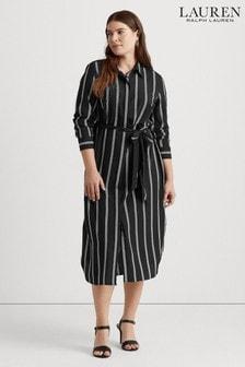 Lauren Ralph Lauren Curve Black Stripe Rynetta Casual Dress