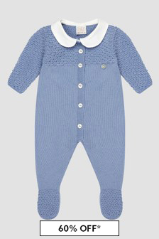 Paz Rodriguez Baby Boys Blue Knitted Rompersuit