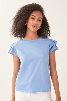 Broderie Frill Sleeve T-Shirt
