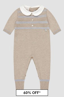 Paz Rodriguez Baby Boys Beige Knitted Rompersuit