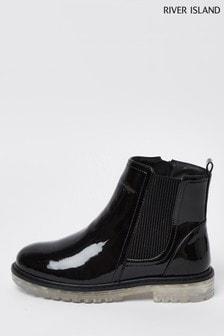River Island Black Translucent Sole Boots