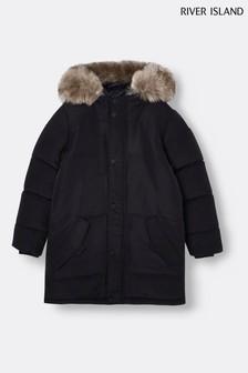 River Island Black Alfie Parka Puffer Jacket