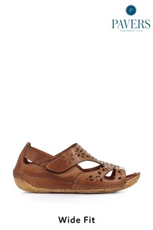 Pavers Ladies Tan Leather Wide Fit Sandals