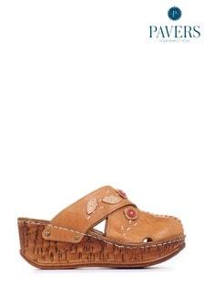 Pavers Ladies Tan Leather Wedge Clogs