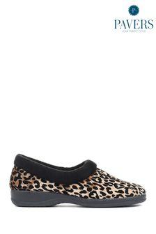 Pavers Ladies Leopard Print Full Slippers