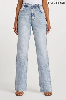 River Island Denim Light Long Straight Authentic Jeans