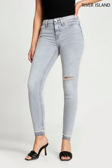 River Island Grey Light Molly Mid Rise Jord Jeans