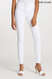 River Island White Molly Mid Rise Sculpt Jeans