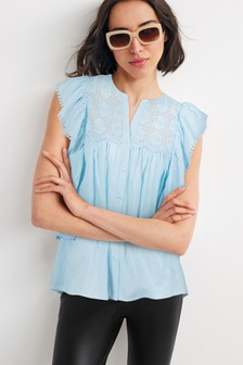 Broderie Ruffle Sleeve Blouse