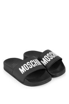 Moschino Kids Unisex Logo Print Sliders