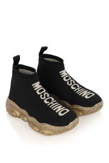 Moschino Kids Unisex Logo Sock Trainers