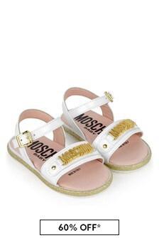 Moschino Kids Girls Leather Logo Sandals