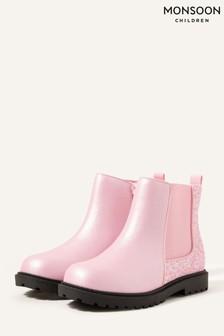 Monsoon Pink Glitter Chelsea Boots