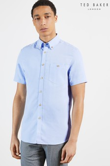 Ted Baker Blue Yasai Short Sleeve Polynosic Oxford Shirt